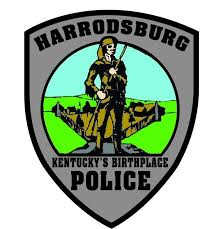 Harrodsburg Kentucky's Birthplace POLICE, with illustration of pioneer and fort