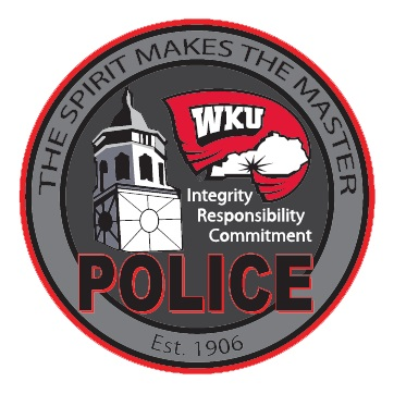 "Western Kentucky University Police Patch. ""The Spirit Makes the Master"" Est. 1906. A circle contains a clocktower and the WKU flag wrapped around an outline of Kentucky, below it reads: Intgerity Responsibility Commitment as well as ""POLICE"""