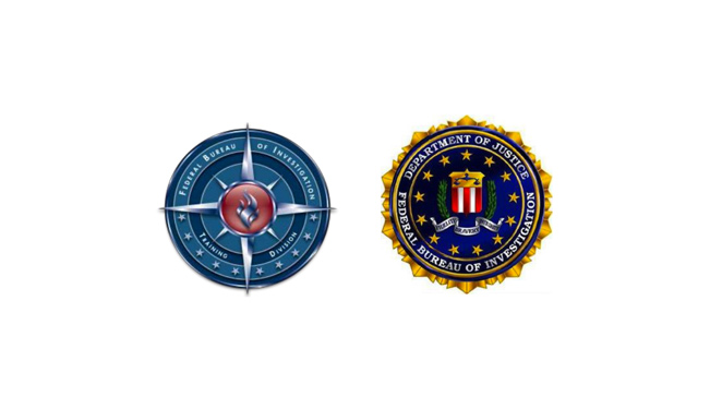 Two seals. To the left is the seal for the Federal Bureau of Investigation (FBI) Training Division, which has concentric rings with a compass at the middle and a flame in its core. To the right is the Department of Justice FBI seal.