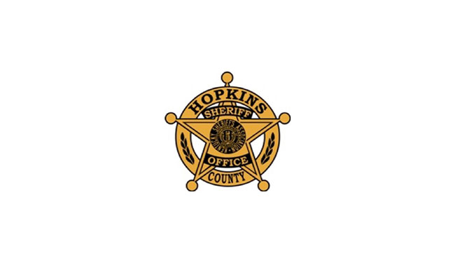 """Hopkins County Sheriff Office badge inside of ring. Center has Kentucky state seal surrounded by the words """"Kentucky Sheriff's Association"""""""