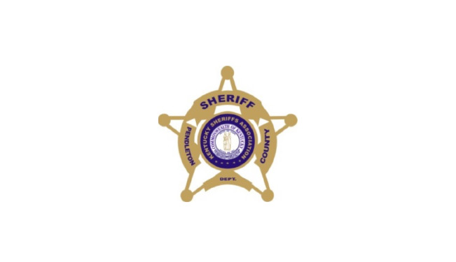"""Pendelton County Sheriff logo. Outline of sheriff star with a circle at the center and a wider circle about half way through the width of the design. The center circle of the star has the kentucky sheriff's association seal. The top of the outer circle says """"Sheriff"""" across the top, """"Pendelton"""" down the left side, """"County"""" down the right side, and """"Dept."""" across the bottom."""