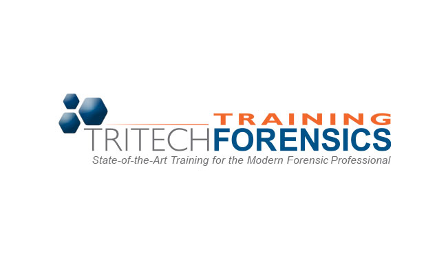 "Tri Tech Forensics Training logo. The top left has three hexagons at varying sizes with their corners pushed together. At the bottom of the logo the tagline reads, ""State-of-the-Art Training for the Modern Forensic Professional"""